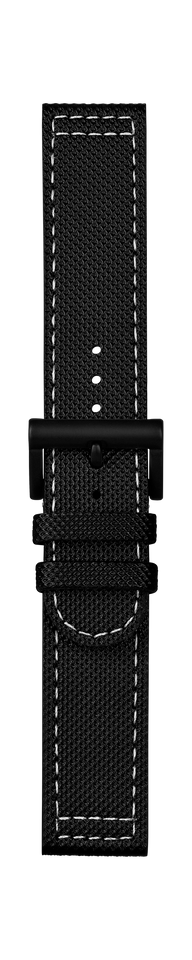 Leather strap black white stitching