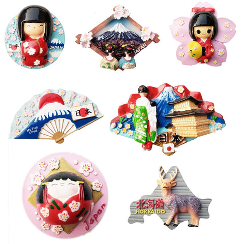 Tourist Souvenir Fridge Magnets Sticker Japan Hokkaido Fuji Mountain Sumo Geishas Singing Girl Ninja Hand-painted 3D Resin Decor