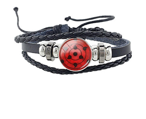 Uchiha Clan Sharingan - Braided Leather Bracelet // TOKYOSOUL