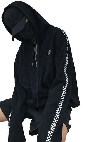 Men/Women Streetwear Hoodies - Pullover w/ Plaid Embroidery