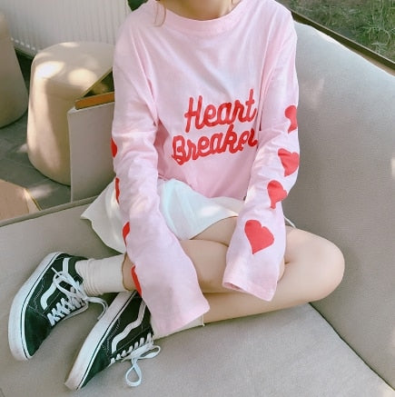 Women's Sweatshirts Japan Harajuku Ulzzang Letter Love Printing Lady Clothing Female Korean Kawaii Cute Svitshot For Women