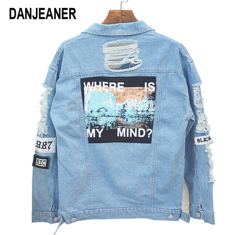 Where is My Mind? Embroidery Letter Patch Bomber Jacket