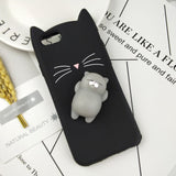 Japan Glitter Bearded Cat Case -  Squishy Cat  (ALL IPHONES)
