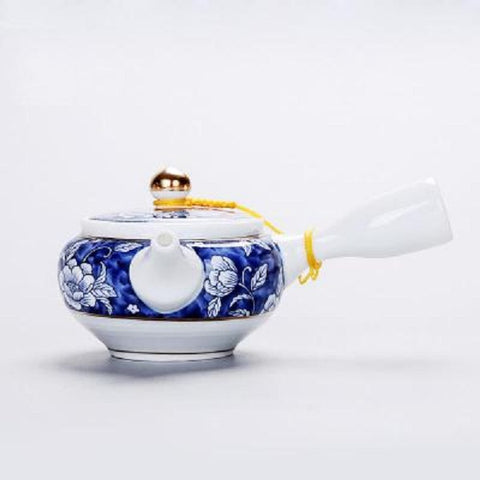 Jingdezhen blue and white teapot handmade kettle Japanese style ebony side pot home cooking tea set scald proof small pot