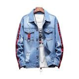 Loldeal Men's Denim Jacket Ripped Distressed Jeans Jacket Rugged Jacket forLoldeal Ribbon Side Striped Frayed Denim Coats