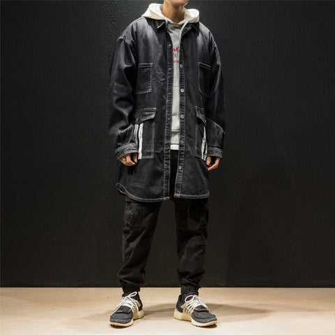 Loose Denim Coat Men Long Sleeve- TOKYO SOUL