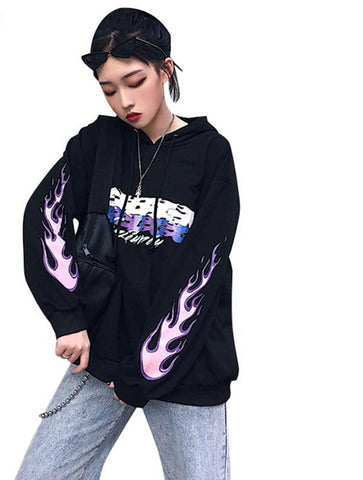 Flame Letter Print - Sweatshirt Long Sleeve Womens Pullover