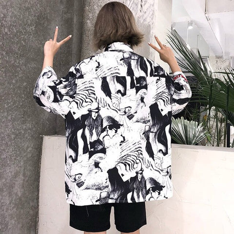 Harajuku Blouse Women Cartoon Character Print Short Sleeve Shirt 2019 Summer Tops Blouses Femme Streetwear Japanese