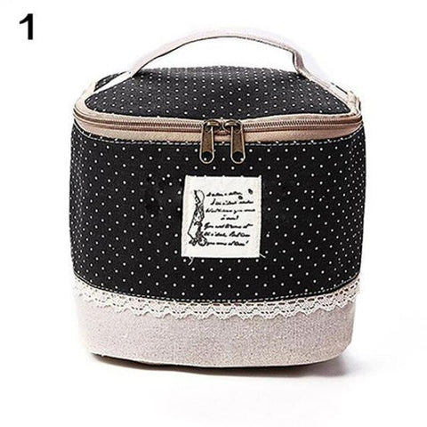 Multi-Function Women's Cosmetic Bag Large Capacity Floral/Dot Makeup Bag Travel Toiletry Storage Organizer Beauty Case Lunch Box