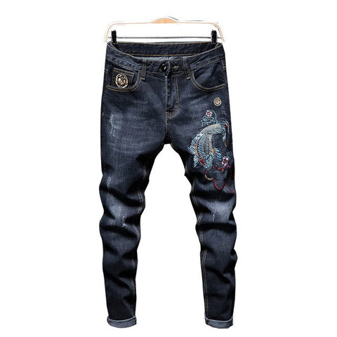 Fish and Flower Denim Streetwear jeans-  Japanese Design
