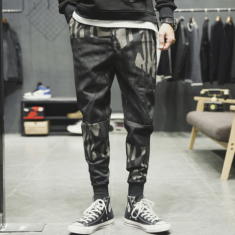 Spring Casual Trousers Japan Style Irregular Camouflage Mens Jeans Fashion Loose Plus Size Denim Harem Pants Mid Waist Jeans