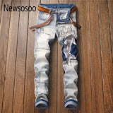 Top Fashion Men's Carp Patch Embroidered Vintage Skinny Jeans Japanese Washed Wave Fish Badge Jeans Slim Stretch Denim Trousers