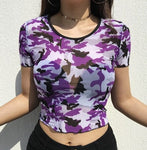 Tokyo Soul - Mesh Camo Crop Top (Colors Available)