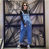 Qooth  Jeans Jumpsuit Ladies Solid Loose Wide Leg Trouser Japan Style Fashion Loose Rompers Womens Jumpsuit Trouser QH1793