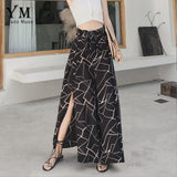 YuooMuoo Summer Chiffon Wide Leg Pants Women Casual Elegant Female Loose Belted Split Beach Trousers New Arrival Sexy Bottoms