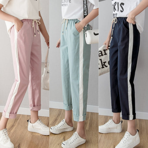 Women's Casual Green Pink Pencil Pants
