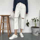 Wide Leg Ripped White Ropa Harajuku Jeans Women Washed Holes Broken Denim ankle BF Denim Pants thick Cotton Mujer Girl Trousers