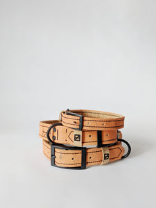 Four Legs Four Walls Vegan Cork Leather Dog Collars - Natural Lining
