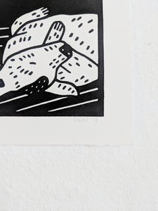 Sleeping Dog Linocut Art Print