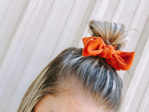 Pumpkin Spice Everything Showcase corduroy velvet scrunchie with bow