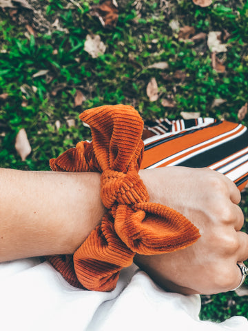 Pumpkin Spice Everything Showcase corduroy velvet scrunchie with bow pumpkin spice