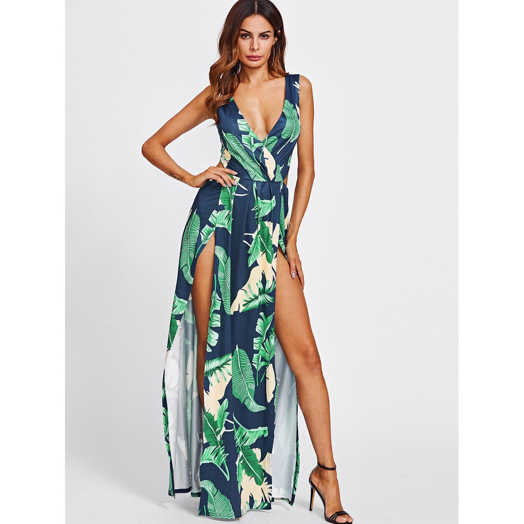 Surplice Neckline Open Back M-Slit Jungle Print Dress - Beryl Green