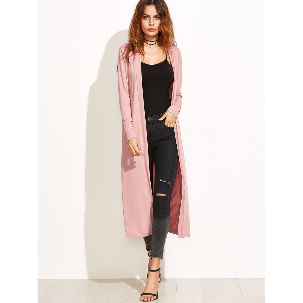 Pink Collarless Longline Duster Coat - Beryl Green