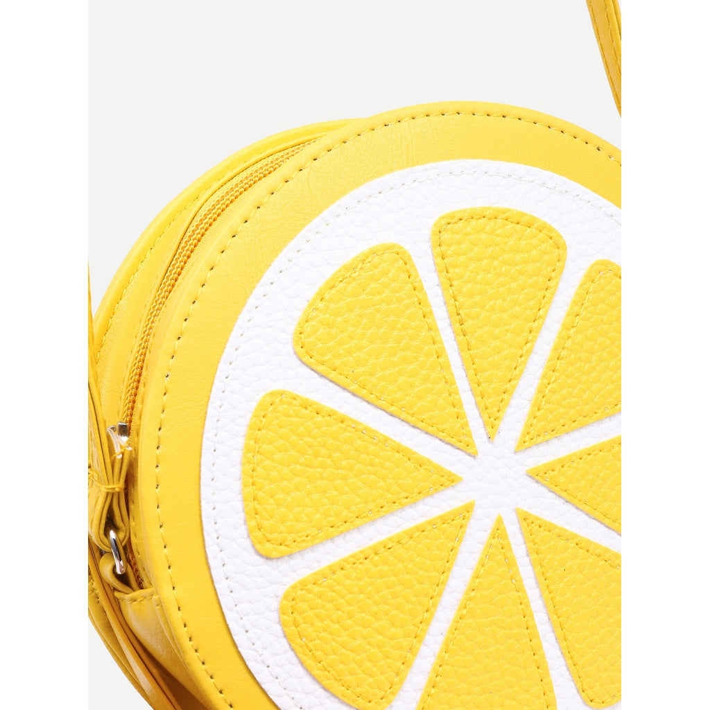 Yellow Lemon Shaped Crossbody Bag - Beryl Green