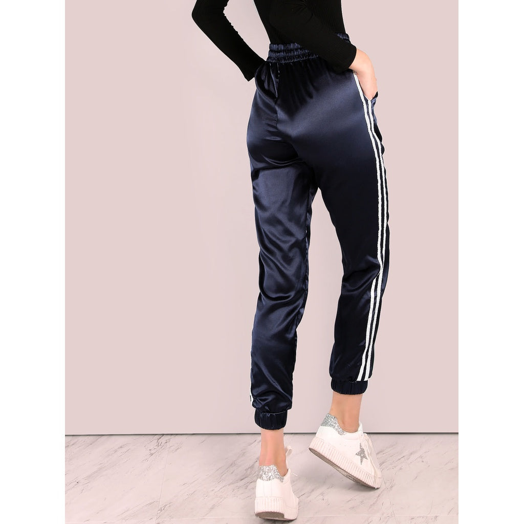 Side Striped Satin Trainer Joggers - Beryl Green