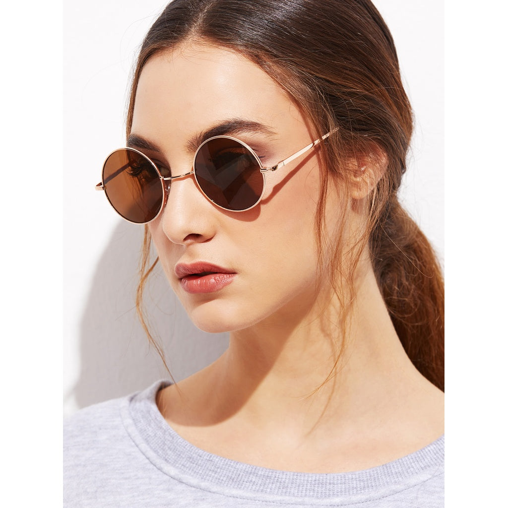 Gold Frame Brown Round Lens Sunglasses - Beryl Green