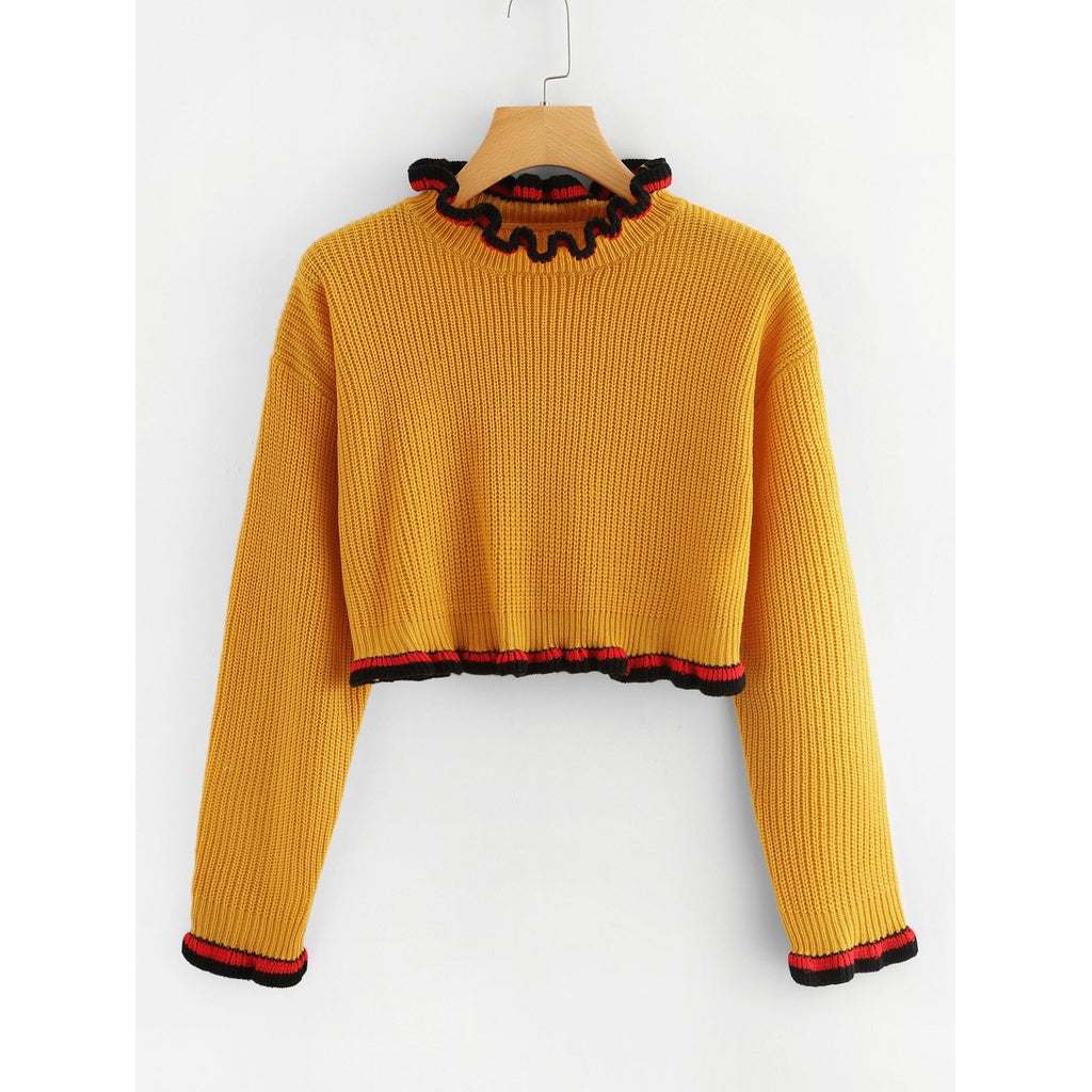 Striped Frill Detail Crop Sweater