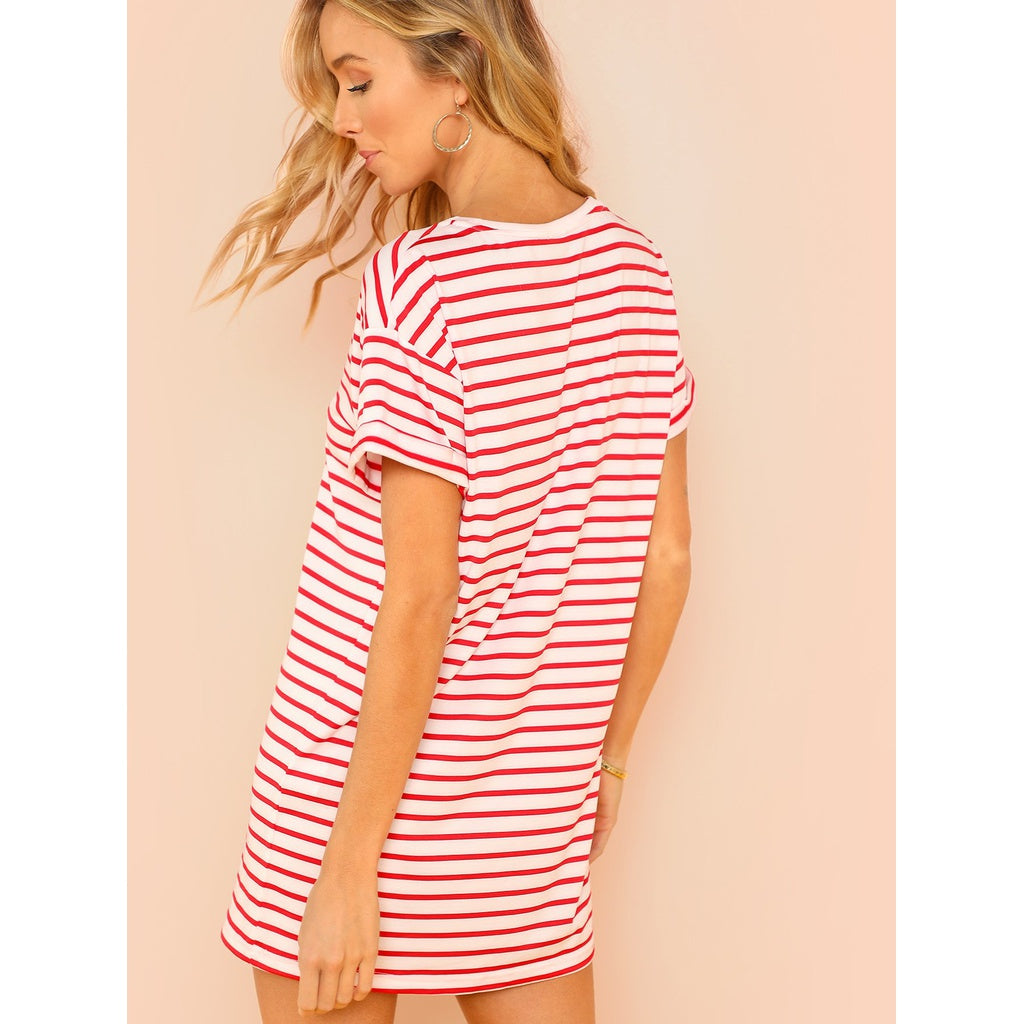 Striped Tee Dress - Beryl Green