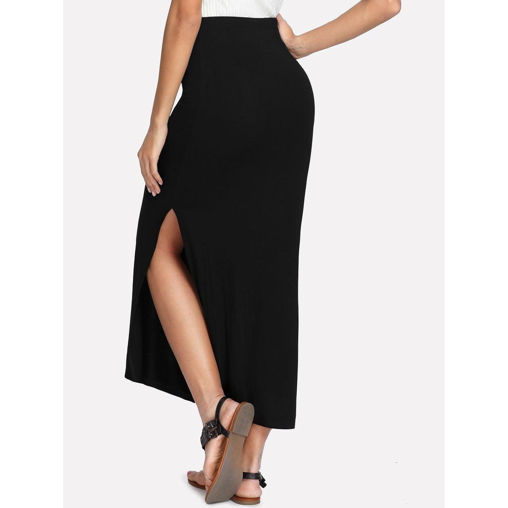 Split Side Solid Skirt