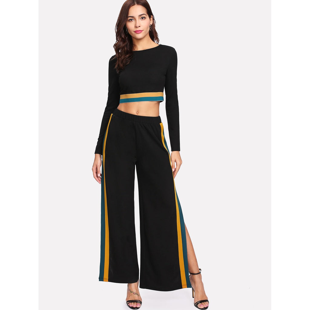Striped Hem Crop Top & Split Side Palazzo Pants Set - Beryl Green