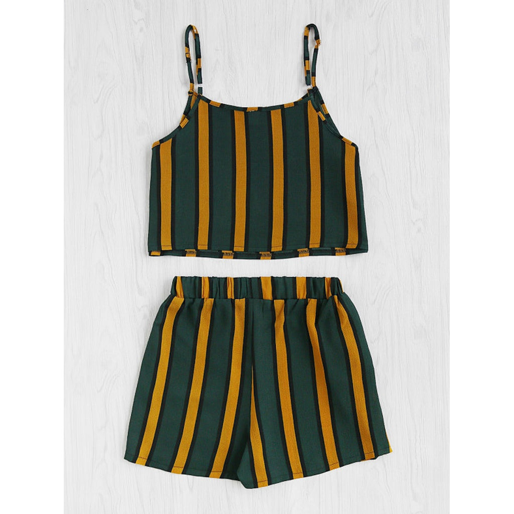 Vertical Striped Crop Cami Top With Shorts - Beryl Green