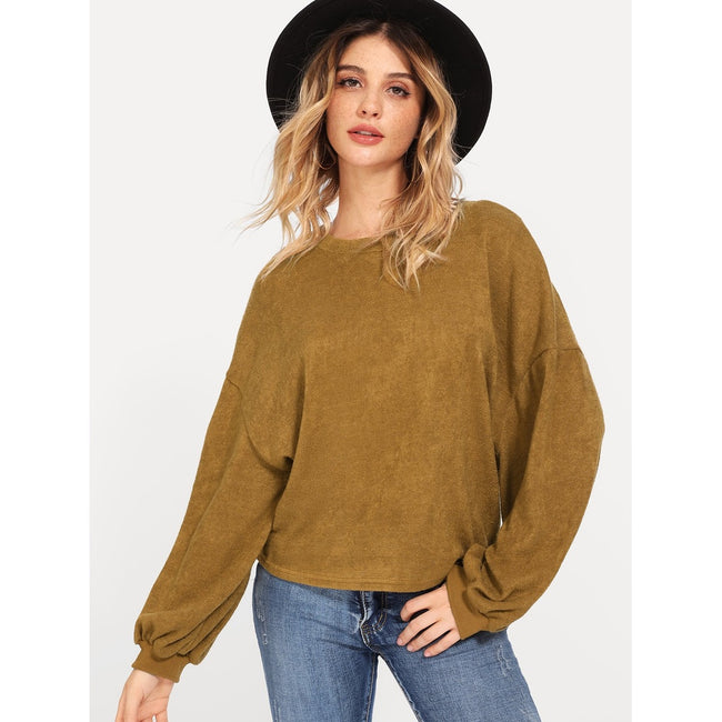 Dropped Shoulder Solid Sweater - Beryl Green