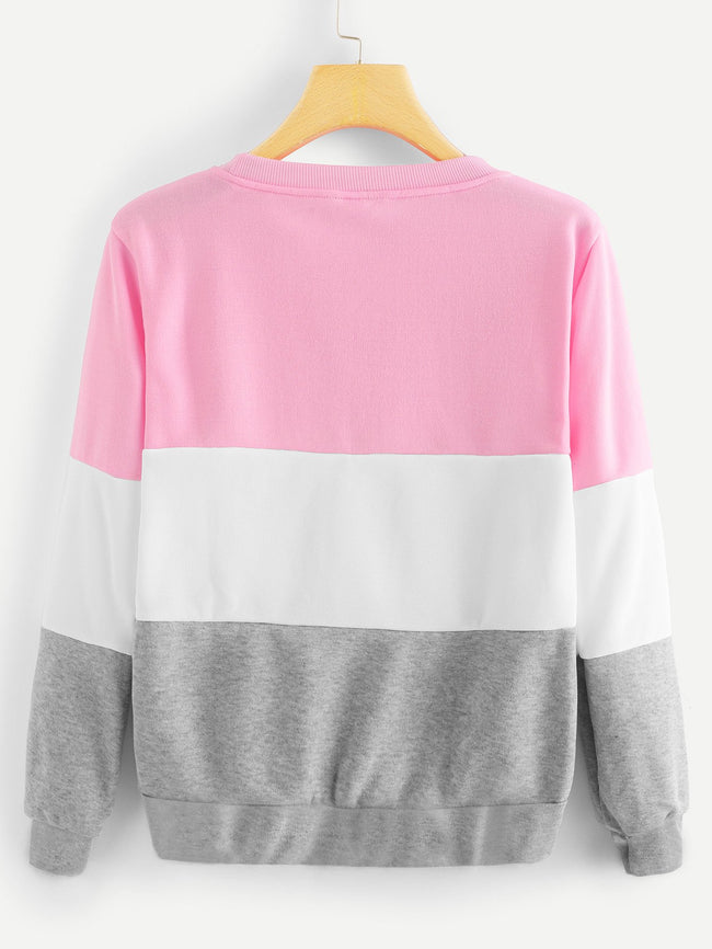 Color Block Letter Print Sweatshirt - Beryl Green