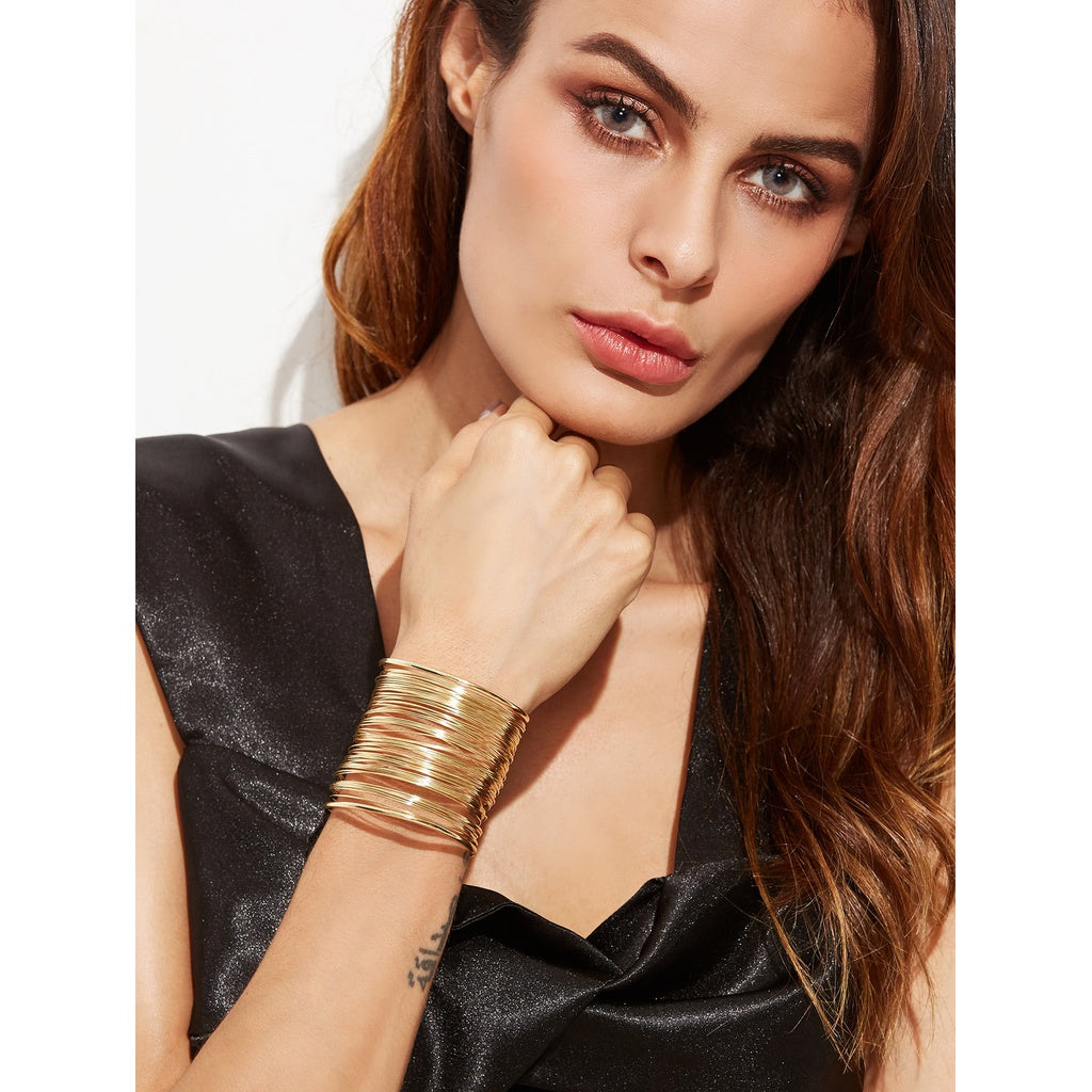 Gold Plated Multi Strand Statement Wrap Bangle - Beryl Green