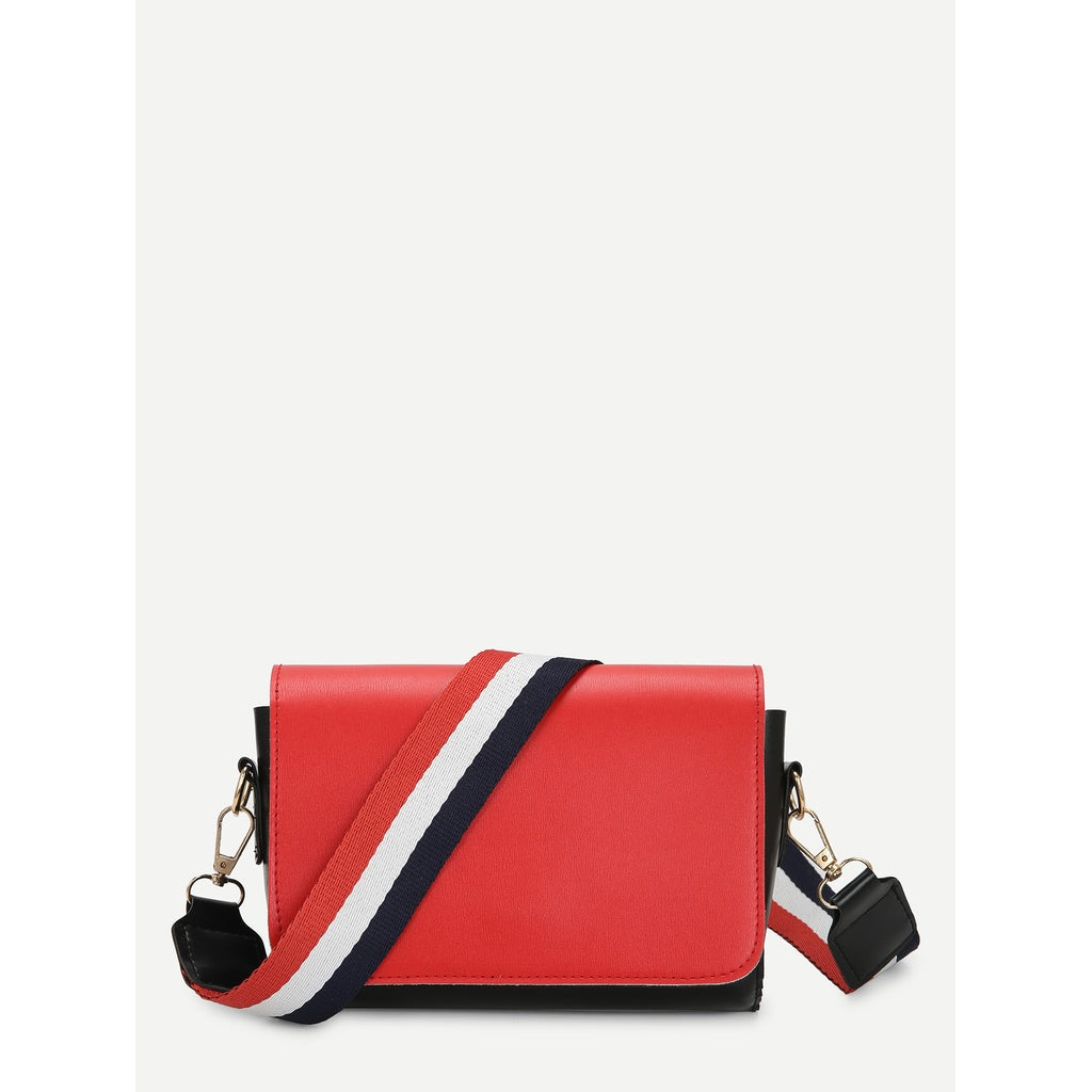 Two Tone Flap Shoulder Bag With Striped Strap - Beryl Green