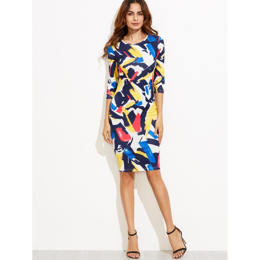 Brush Stroke Print Pencil Dress - Beryl Green