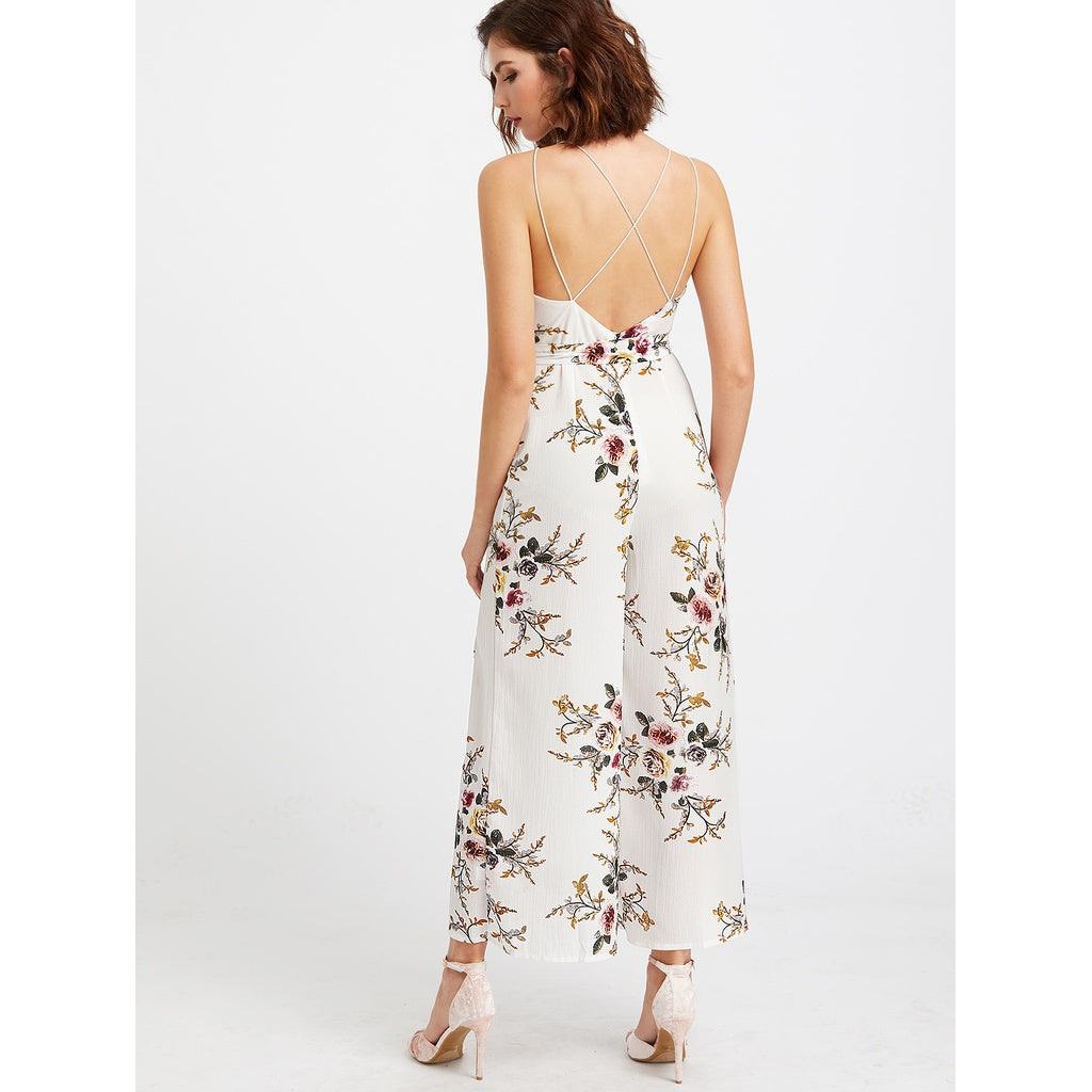 Plunging Self Tie M-slit Strappy Back Florals Jumpsuit