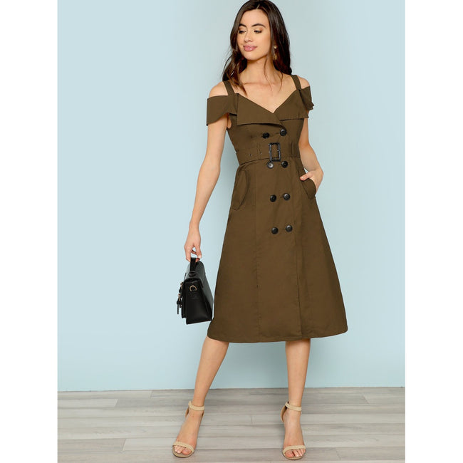 Cold Shoulder Belted Trench Dress - Beryl Green