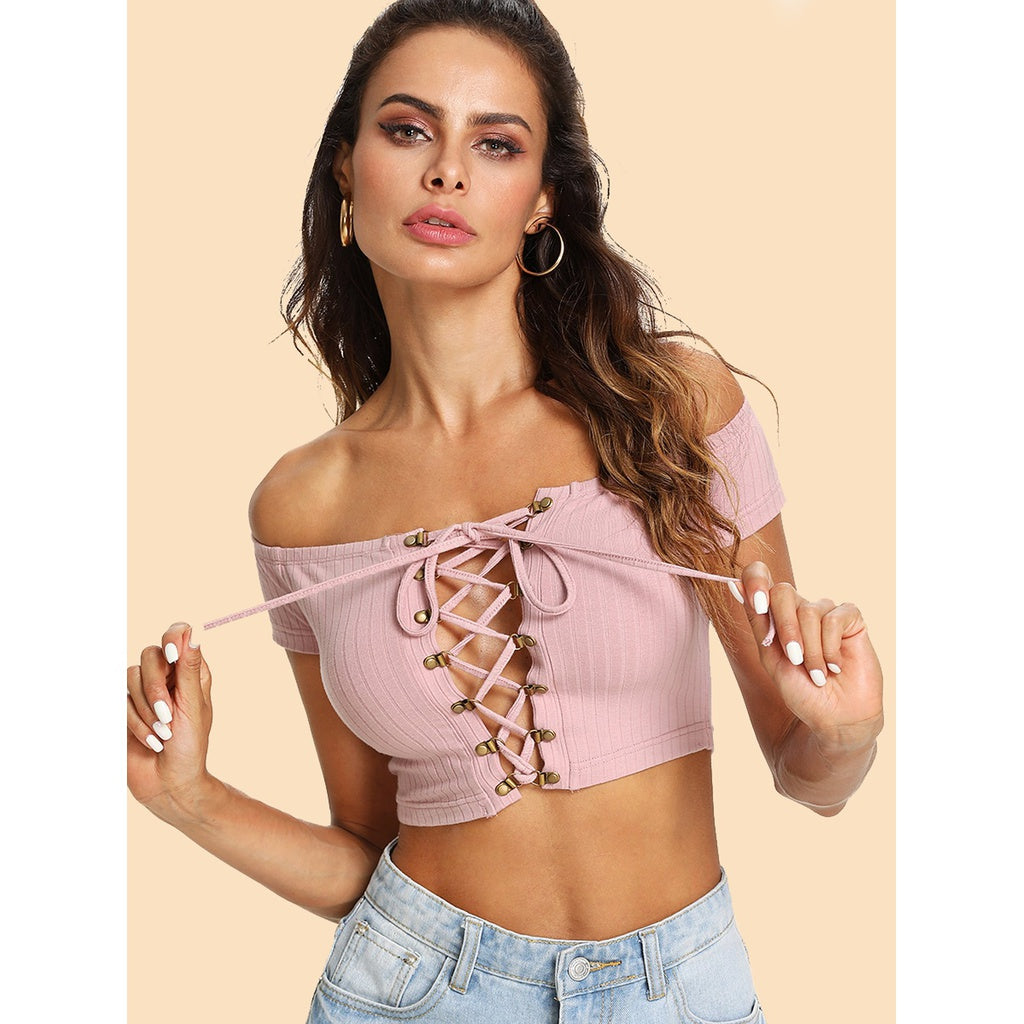 Grommet Lace Up Front Crop Bardot Top - Beryl Green