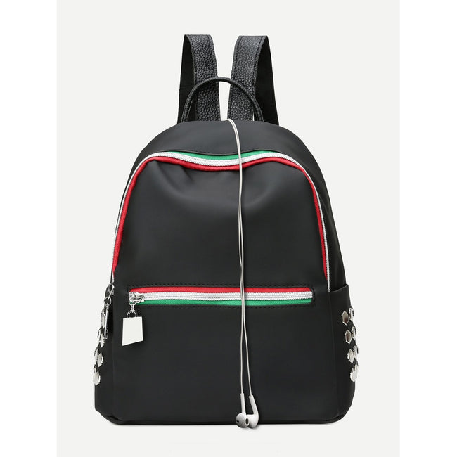 Striped Detail Studded Backpack - Beryl Green