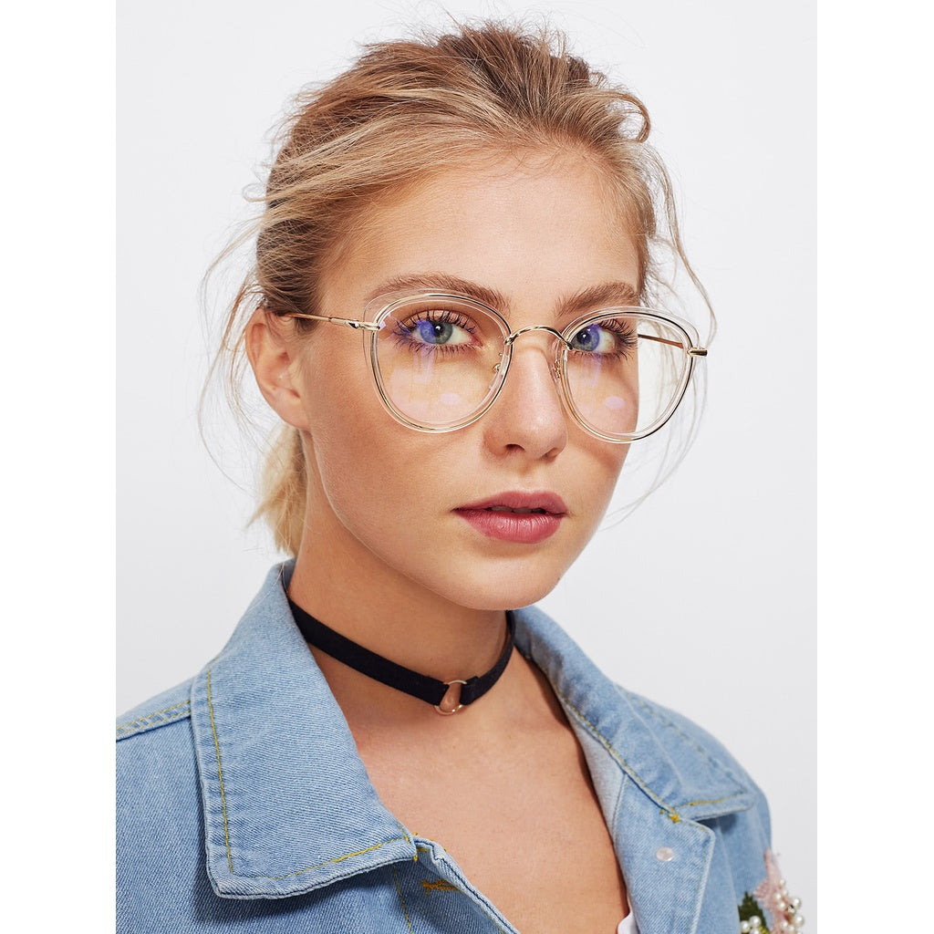 Clear Frame Cat Eye Glasses - Beryl Green