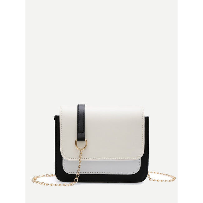 Color Block Flap Chain Bag - Beryl Green