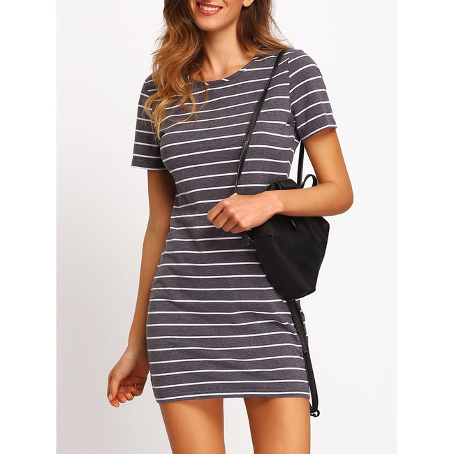 Contrast Striped Casual T-shirt Dress - Beryl Green