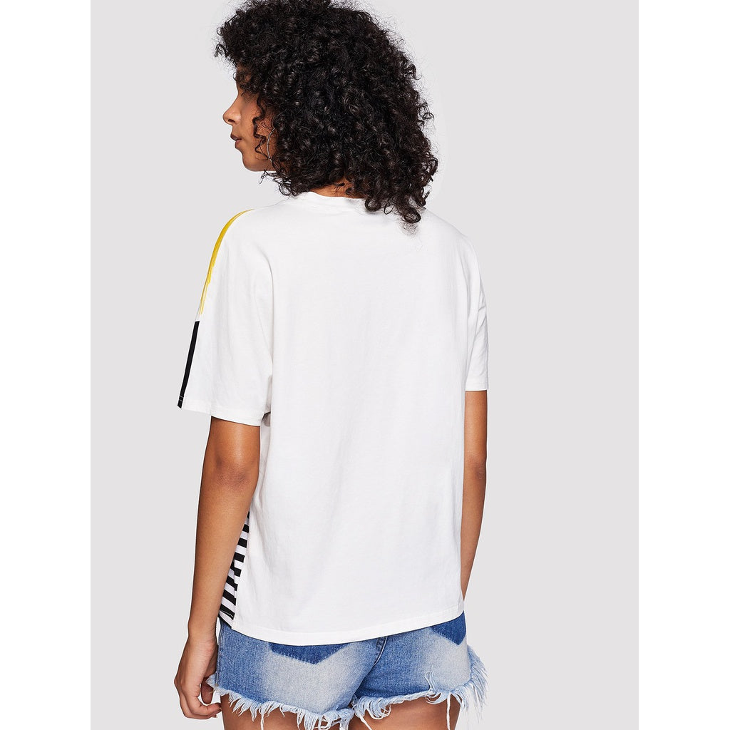 Letter Print Striped Brush Tee