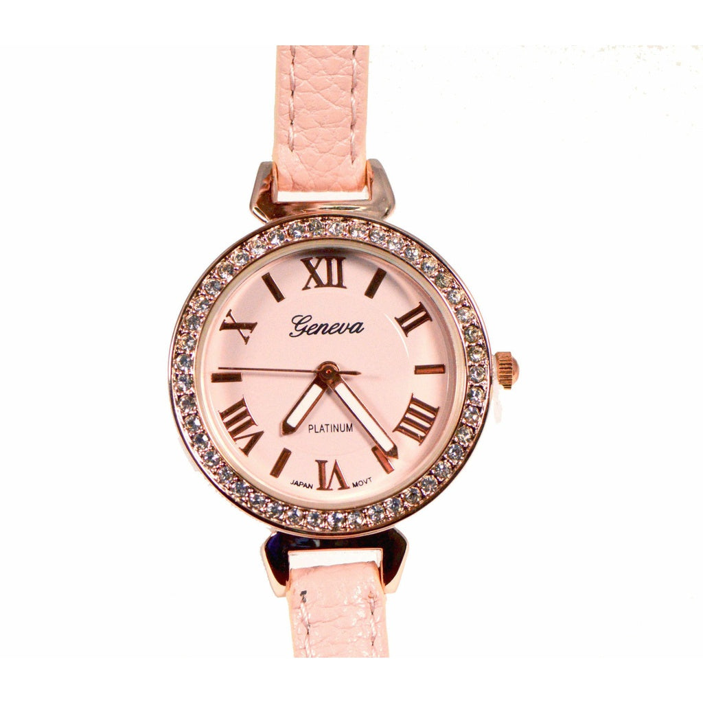 Crystal Lined Thin Leather Band Watch - Soft Pink/Rose Gold
