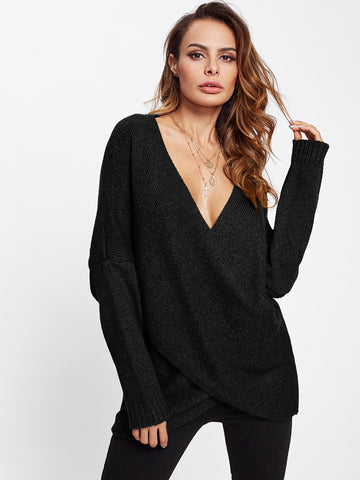 Eyelet Lace Up Side Dip Hem Sweater